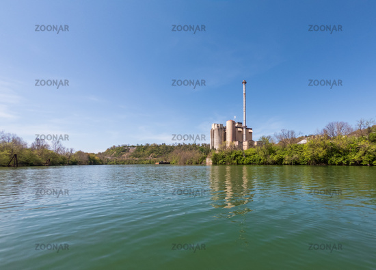 Power station on the banks of the Monongahela river in Morgantown WV