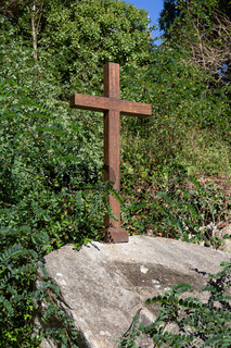Beautiful wooden cross on outdoors. Galicia, Spain. Christianity or religion concept