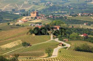 View on hills and vineyards of Piedmont, northern Italy.
