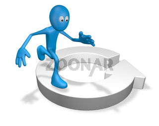cartoonfigur läuft im kreis - 3d illustration