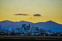 Sendai City downtown skyline and sunset