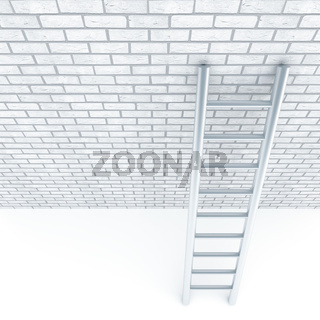 Metal ladder and a wall of white bricks