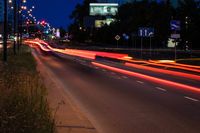 Wide street in evening