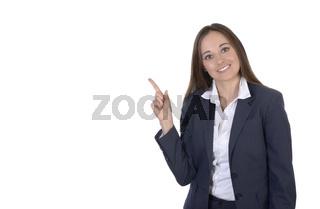 Hübsche Geschäftsfrau präsentiert Copy Space