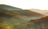 picturesque autumn landscape of rural mountainous terrain