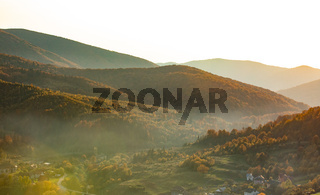 picturesque autumn landscape of rural mountainous terrain