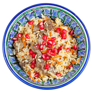 top view on traditional asian pilau