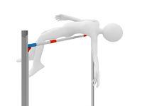 Athlete jump over barrier