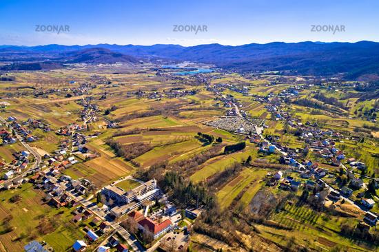 Town of Ogulin lake Sabljaci aerial panoramic view