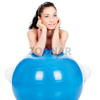 woman leaning on the big ball