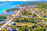 Coastal village of Zablace aerial panoramic view, Sibenik archipelago