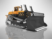 Career technology bulldozer orange 3D rendering on gray background with shadow