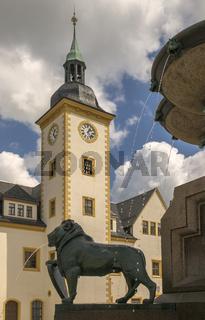 Altstadt Freiberg - Rathaus mit Brunnenfigur