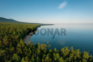 Summertime imagery of Lake Baikal is a rift lake located in southern Siberia, Russia. Baikal lake summer landscape view. Drone's Eye View.