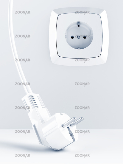 cable and electric plug on a white background with electric socket