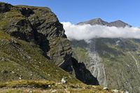 Alpine Landschaft am Gipfel Roc de la Vache, Zinal, Val d'Anniviers, Wallis, Schweiz