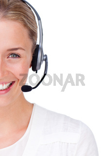 Close-up of a customer service agent looking at the camera