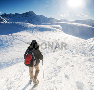 Mountain trekking in the winter