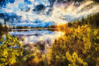 Beautiful landscape, lake with mountain in background. Painting effect.