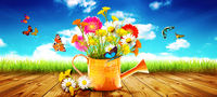 Colorful wild flower bouquet in a watering can with butterflies.