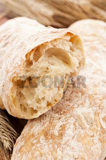 artisan bread as closeup