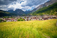 Town of Bormio in Dolomites Alps green landscape view