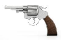 Generic revolver isolated on white background. 3D illustration