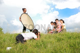 Professional photo shouting in nature