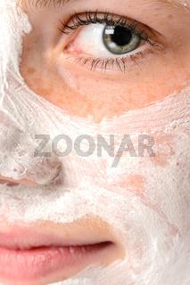 Smiling girl moisturizer facial face mask eye