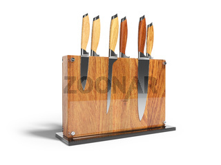 Set of kitchen knives on wooden stand with glass 3D render on white background with shadow