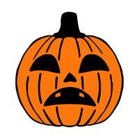 Sad Jack O Lantern hand drawn art, halloween pumpkin isolated