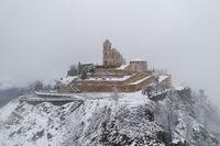 Senhora da Graca church drone view with snow in Mondim de Basto, Portugal