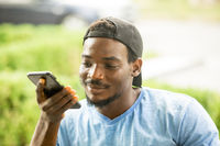 Happy man during video call with his friend