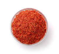Top view of dried saffron threads in glass cup