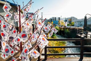 Korean national flag Taegeukgi at Haecheon Hangil movement theme street in Miryang, Korea