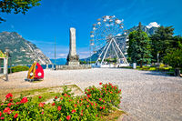 Town of Lecco on Como Lake waterfront and ferris wheel view
