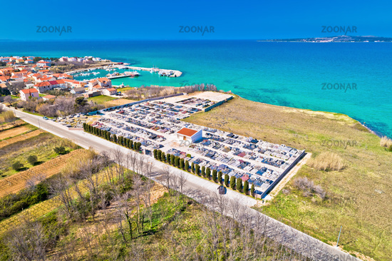 Privlaka. Cemetery by the sea in village of Privlaka aerial view
