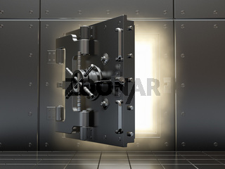 Opening vault and volume light. Three-dimensional image.
