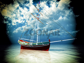 Old pirate frigate on stormy seas