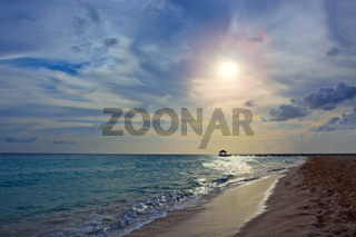 Sunset on the beach of caribbean sea.Travel background.