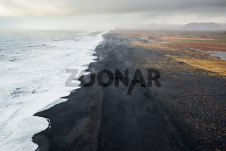 View of the black sand beach from Dyrholaey, Iceland