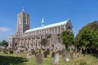 SOUTHWOLD, SUFFOLK, UK - JUNE 2 : Church of St Edmund in Southwold Suffolk on June 2, 2010. Two unidentified people