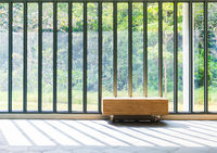 Wooden bench in front of French window with sunlight and countryside view