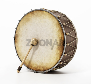 Generic traditional Ramadan drum and stick isolated on white background. 3D illustration