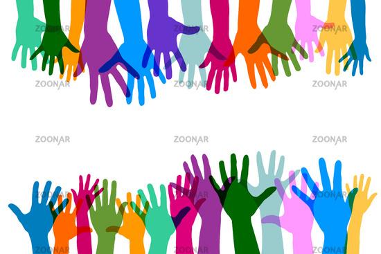 Viele bunte transparente Hände als Gruppe und Team
