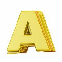 Yellow font Letter A 3D