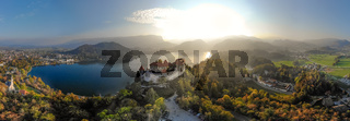 Aerial panoramic view of Lake Bled and the castle of Bled, Slovenia, Europe. Aerial drone photography