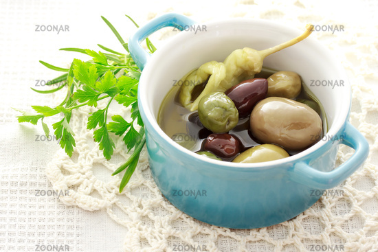 Olives in little pot