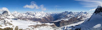 Panoramic View from Klein Matterhorn in the Swiss Alps