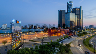 Aerial View Of The Detroit Michigan Skyline